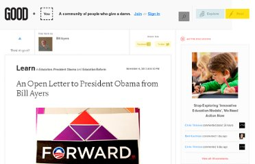 http://good.is/posts/an-open-letter-to-president-obama-from-bill-ayers