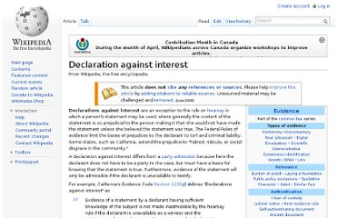 http://en.wikipedia.org/wiki/Declaration_against_interest