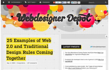 http://www.webdesignerdepot.com/2009/09/25-examples-of-web-2-0-and-traditional-design-rules-coming-together/