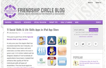 http://www.friendshipcircle.org/blog/2011/02/23/11-social-skills-life-skills-apps-in-ipad-app-store/