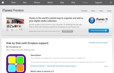 https://itunes.apple.com/us/app/side-by-side-dropbox-support/id386528623?mt=8