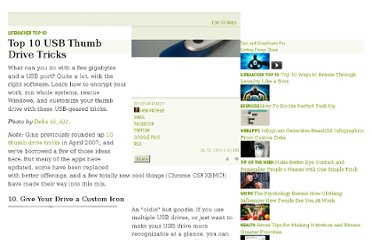 http://lifehacker.com/5583307/top-10-usb-thumb-drive-tricks-2010-edition