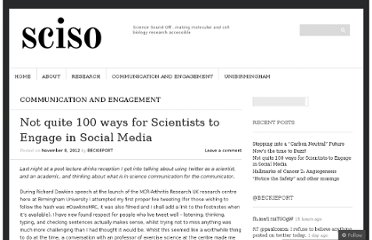 http://scisoundoff.wordpress.com/2012/11/08/not-quite-100-ways-for-scientists-to-engage-in-social-media-whats-in-it-for-the-scientist/