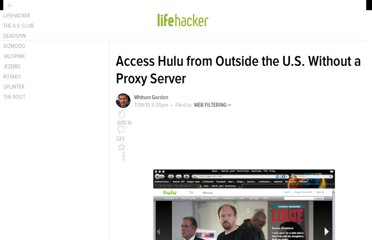 http://lifehacker.com/5583515/access-hulu-from-outside-the-us-without-a-proxy-server