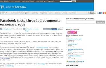 http://www.insidefacebook.com/2012/11/09/facebook-tests-threaded-comments-on-some-pages/