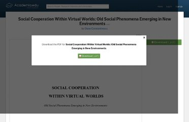 http://www.academia.edu/218404/Social_Cooperation_Within_Virtual_Worlds_Old_Social_Phenomena_Emerging_in_New_Environments