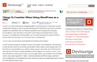 http://www.devlounge.net/publishing/things-to-consider-when-using-wordpress-as-a-cms