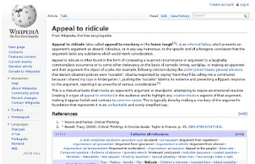 http://en.wikipedia.org/wiki/Appeal_to_ridicule