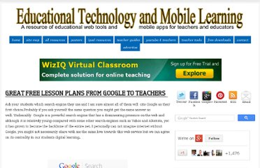 http://www.educatorstechnology.com/2012/11/great-free-lesson-plans-from-google-to.html