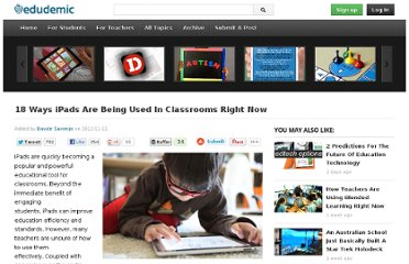 http://edudemic.com/2012/11/18-ways-ipads-are-being-used-in-classrooms-right-now/