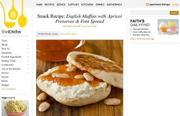 http://www.thekitchn.com/snack-recipe-english-muffins-with-apricot-preserves-feta-spread-recipes-from-the-kitchn-180046