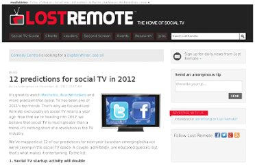 http://lostremote.com/1-predictions-for-social-tv-in-2012_b24557