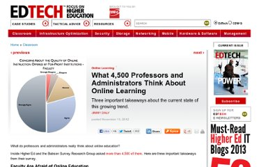 http://www.edtechmagazine.com/higher/article/2012/11/what-4500-professors-and-administrators-think-about-online-learning