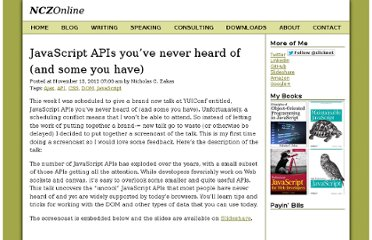 http://www.nczonline.net/blog/2012/11/13/javascript-apis-youve-never-heard-of/