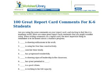 http://www.worksheetlibrary.com/teachingtips/reportcardcommentselementary.html