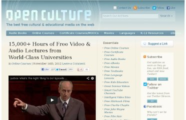 http://www.openculture.com/2012/11/15000_hours_of_free_video_audio_lectures_from_world-class_universities.html