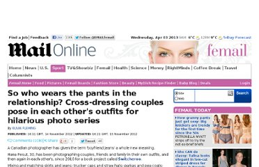 http://www.dailymail.co.uk/femail/article-2232851/Cross-dressing-couples-pose-outfits-hilarious-photo-series.html