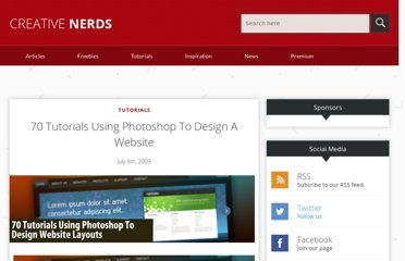 http://creativenerds.co.uk/tutorials/70-tutorials-using-photoshop-to-design-a-website/