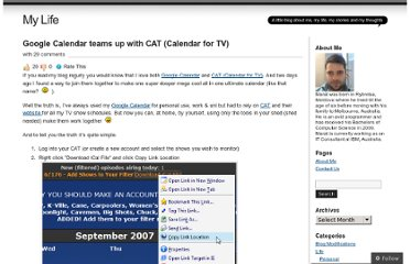 http://mlevit.wordpress.com/2007/09/19/google-calendar-teams-up-with-cat-calendar-for-tv/