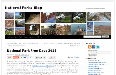 http://www.nationalparksblog.com/national-park-free-days-2013/