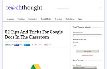 http://www.teachthought.com/technology/52-tips-and-tricks-for-google-docs-in-the-classroom/
