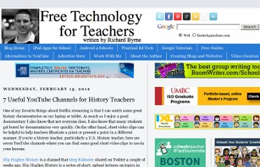 http://www.freetech4teachers.com/2012/02/7-useful-youtube-channels-for-history.html#.UKZtXeTO2zk