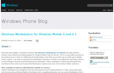 http://blogs.windows.com/windows_phone/b/windowsphone/archive/2009/11/16/windows-marketplace-for-windows-mobile-6-0-and-6-1.aspx