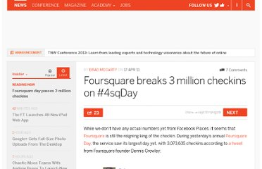 http://thenextweb.com/insider/2011/04/17/foursquare-breaks-3-million-checkins-on-4sqday/