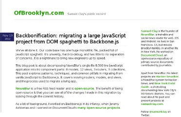 http://www.ofbrooklyn.com/2012/11/13/backbonification-migrating-javascript-to-backbone/