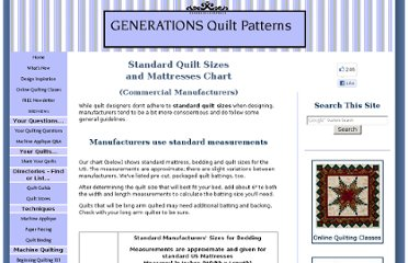 http://www.generations-quilt-patterns.com/standard-quilt-sizes.html