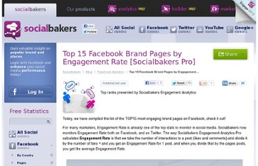 http://www.socialbakers.com/blog/370-top-15-facebook-brand-pages-by-engagement-rate-socialbakers-pro