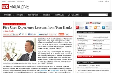 http://uxmag.com/articles/five-user-experience-lessons-from-tom-hanks