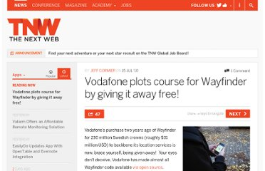 http://thenextweb.com/apps/2010/07/15/vodafone-plots-course-for-wayfinder-by-giving-it-away-free/