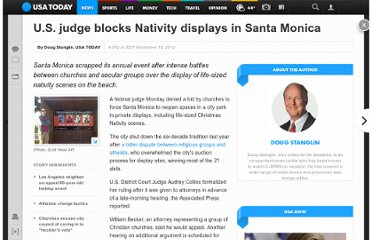 http://www.usatoday.com/story/news/nation/2012/11/19/santa-monica-atheists-nativity-scenes-christmas/1714007/