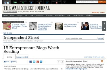 http://blogs.wsj.com/independentstreet/2008/06/13/15-entrepreneur-blogs-worth-reading/