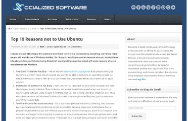 http://socializedsoftware.com/2007/10/30/top-10-reasons-not-to-use-ubuntu/