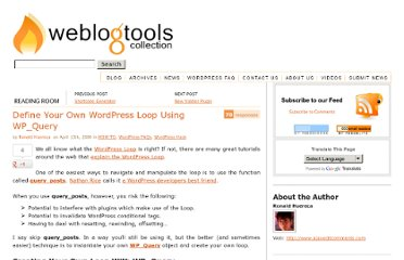 http://weblogtoolscollection.com/archives/2008/04/13/define-your-own-wordpress-loop-using-wp_query/