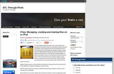 http://sevhandenise.edublogs.org/2012/11/21/ifiles-managing-creating-and-sharing-files-on-an-ipad/