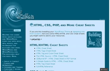 http://lorelle.wordpress.com/2005/10/10/html-css-php-and-more-cheat-sheets/