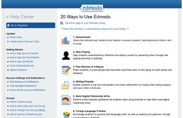 http://help.edmodo.com/teachers/teacher-rollout-resources/twenty-ways-to-use-edmodo/