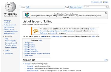 http://en.wikipedia.org/wiki/List_of_types_of_killing