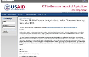 https://communities.usaidallnet.gov/ictforag/announcements/webinar-mobile-finance-and-agricultural-value-chains-monday-november-26th