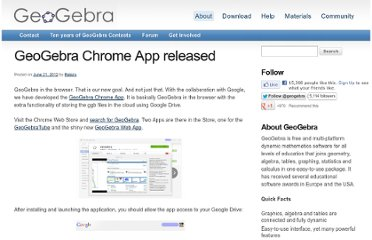 http://blog.geogebra.org/2012/06/geogebra-chrome-app-released/