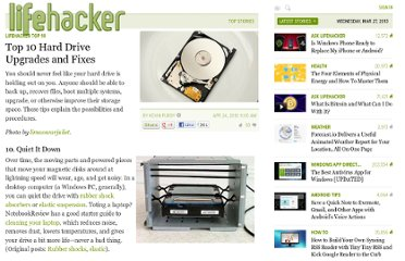 http://lifehacker.com/5520822/top-10-hard-drive-upgrades-and-fixes