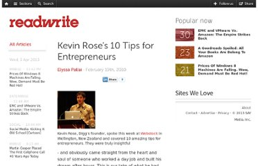 http://readwrite.com/2010/02/19/kevin-rose-10-tips-for-entrepreneurs
