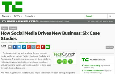 http://techcrunch.com/2010/07/17/how-social-media-drives-new-business-six-case-studies/
