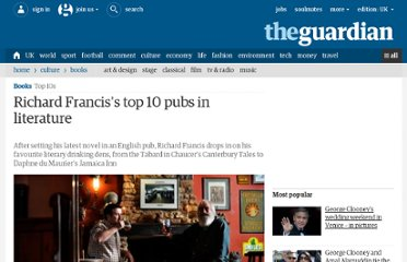 http://www.guardian.co.uk/books/2010/jul/08/richard-francis-top-10-pubs-literature