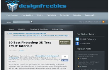 http://www.designfreebies.org/design-tutorials/photoshop-tutorials/30-best-photoshop-3d-text-effect-tutorials/