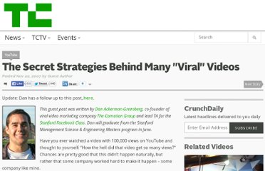 http://techcrunch.com/2007/11/22/the-secret-strategies-behind-many-viral-videos/
