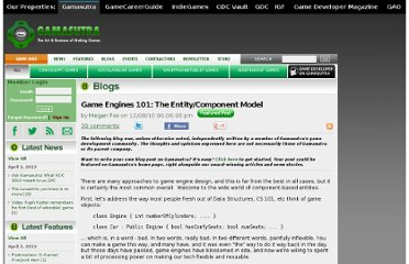 http://www.gamasutra.com/blogs/MeganFox/20101208/88590/Game_Engines_101_The_EntityComponent_Model.php